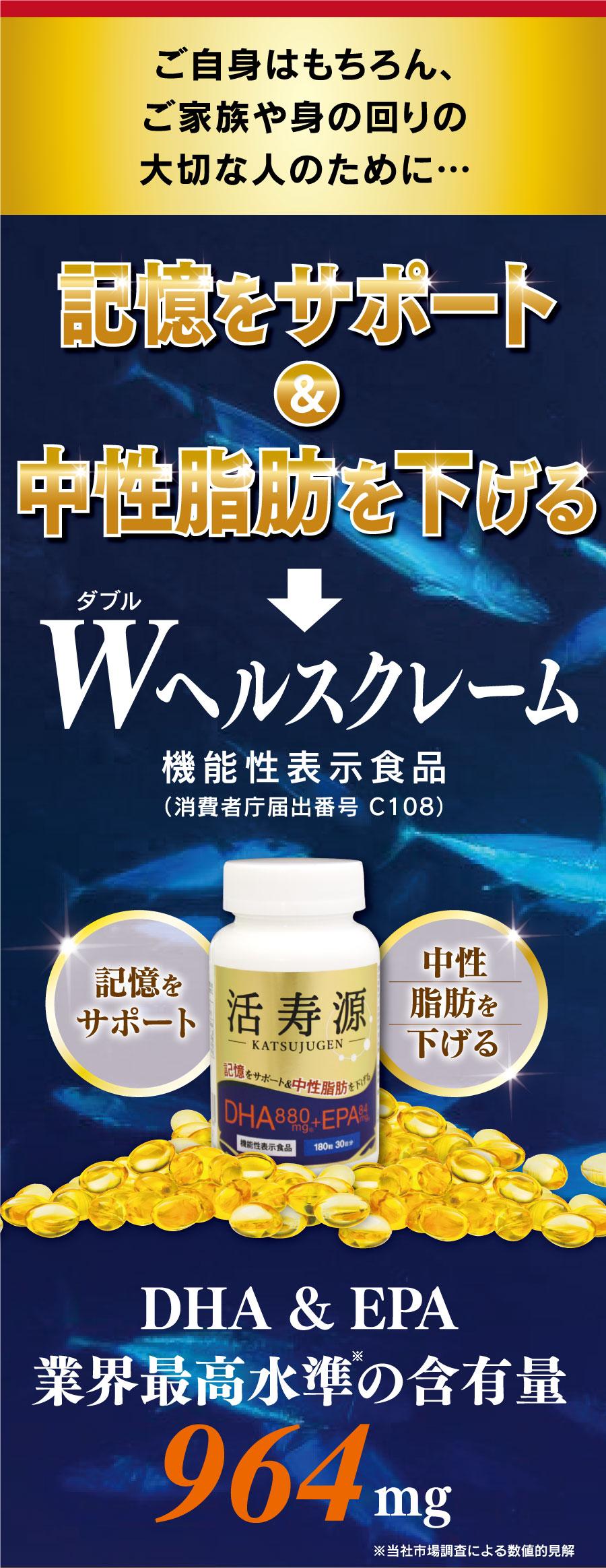 記憶をサポート&中性脂肪を下げる Wヘルスクレーム
